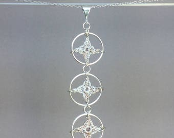 Spangles, pearly silk necklace, sterling silver