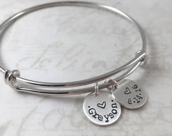 Mother's Day gift, All sterling silver personalized bracelet, mother gift, expandable bangle bracelet, custom hand stamped, charm bracelet