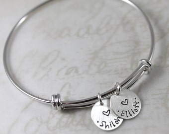 Mother's Day gift, silver personalized bracelet, mother gift, expandable bangle bracelet, custom hand stamped names, charm bracelet