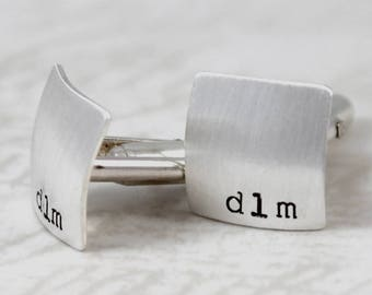 Father's Day Gift, Sterling silver cufflinks, initial square cufflinks, personalized cuff links, mens personalized cufflinks