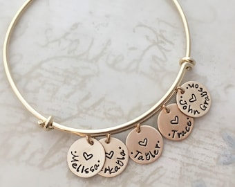 Mother's Day gift, All gold filled personalized bracelet, mother gift, expandable bangle bracelet, custom hand stamped, charm bracelet