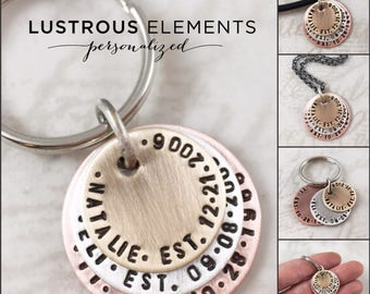 Father's Day gift, Personalized keychain or mens personalized necklace, dad gift, mens gift, custom keychain with childrens names