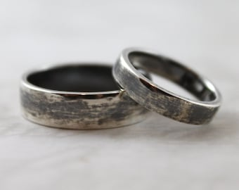 Darkened smooth polished sterling silver ring set, Handmade wedding rings, Matchinng bands, couples rings, mens wedding ring, womens ring
