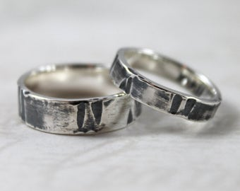Darkened lines, smooth polished sterling silver ring set, wedding rings, Matchinng bands, couples rings, mens wedding ring, womens ring
