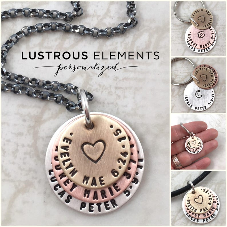 or mens personalized necklace custom hand stamped Personalized gifts for dad anniversary gift keychain mens gift
