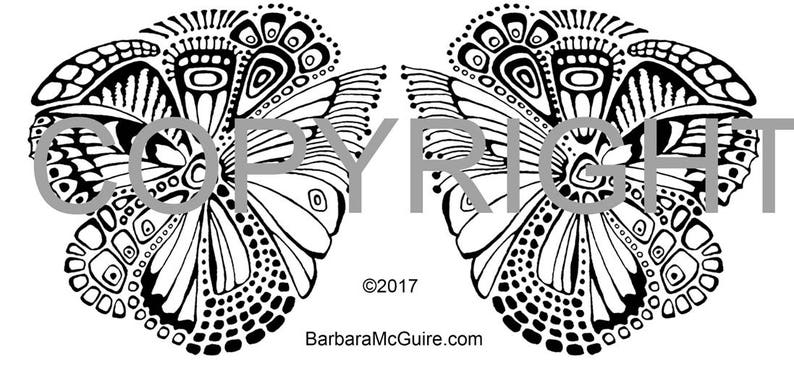 Butterfly Mirror Rubber Stamp for Clay Polymer Paper image 0
