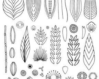 garden flowers and leaves design rubber stamp sheet for polymer clay, pottery and crafts