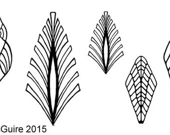 RiverBones Leaves Strippers unmounted rubber stamp for crafts in polymer, metal and ceramic clay
