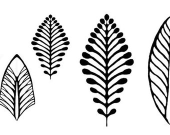 Riverbank Leaves Strippers unmounted rubber stamp for crafts in polymer, metal and ceramic clay