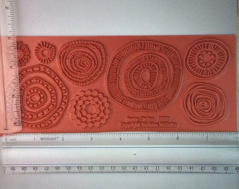 Inner Circles Rubber Stamp for Clay, Polymer, Paper, Pottery and Metal Etching