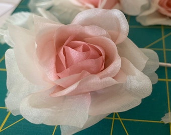 8 Ivory/blush pink silk roses for headpiece, wreath, fascinator or hat, ivory/pink millinery rose