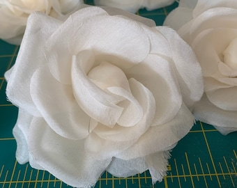 Ivory silk millinery rose, large rose for bridal fascinator, headpiece or comb