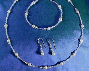 Bridal Necklace Set / Glass Illusion Style Swarovski Crystal Freshwater Pearl Bridal Set