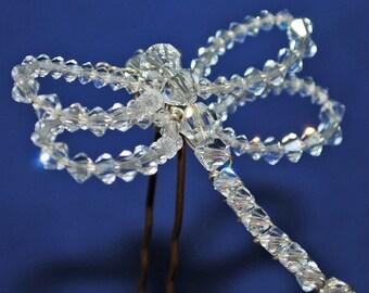 Dragonfly Hairpin, Bridal Hairpin, Crystal Hairpin, Garden Wedding. Dragonfly Wedding, Dragonfly Brooch, Dragonfly Pendant