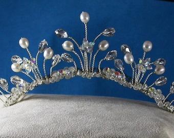 Freshwater Pearl and Swarovski Crystal Sterling Silver Tiara Bridal Comb / Bridgerton / Princess Bride