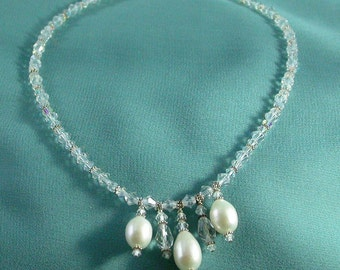 Statement Bridal necklace,Large Pearl pendant and Swarovski Crystal art jewelry necklace