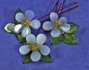 Blue Flower Hairpins, Forget Me Not Gemstone Hair Pins Set of 3, Floral Hairpins for Garden Wedding, Something Blue for the Bride