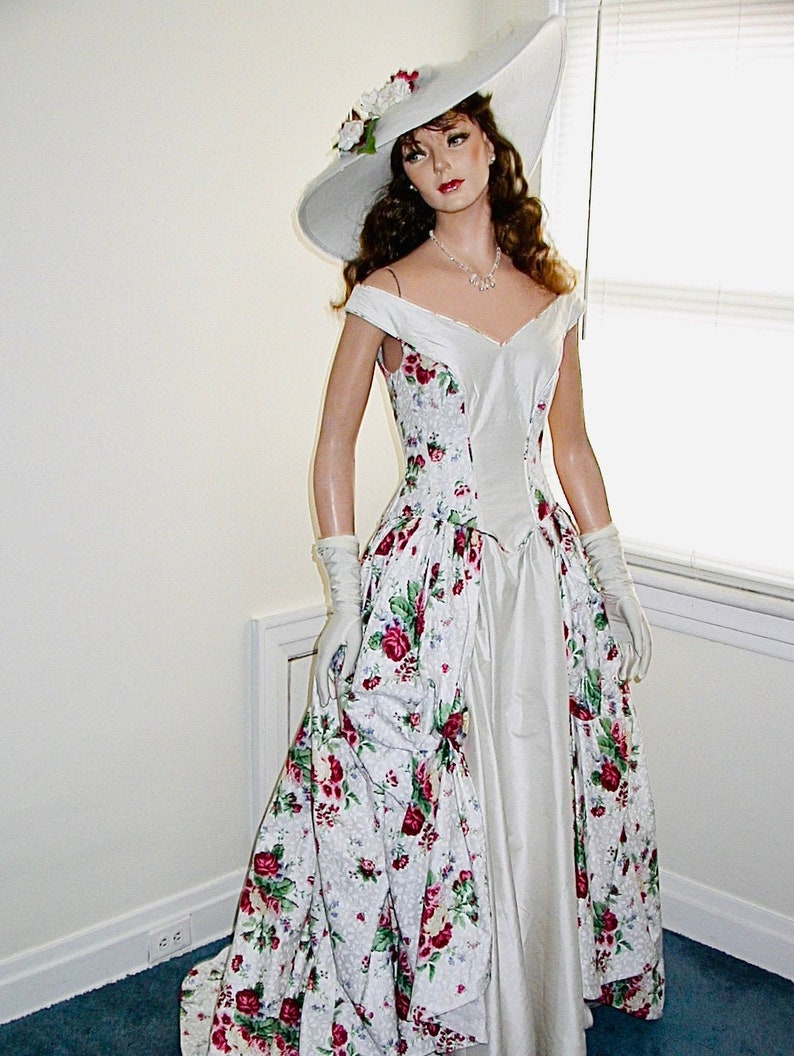 Floral wedding gown Victorian style bridal gown with handmade image 0