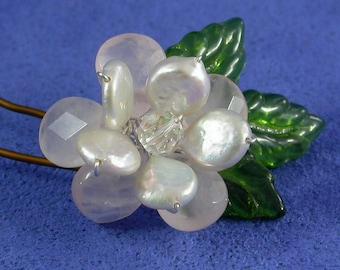 Rose Flower Hairpin, Pink Rose Flower Hairpin For Weddings, Rose Quartz and Pearl Hairpin, Pink Flower Bridal Hairpin,