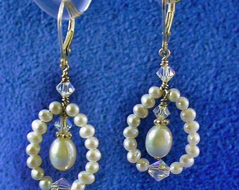 Freshwater Pearl Earrings with Swarovski Crystal, Sterling Silver Lever back, Post or French hook, Bridal earrings