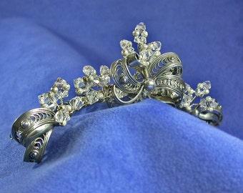 Bridal Tiara, Mid Century Modern Sterling Silver jewelry. Swarovski Crystal Bridal tiara, Bridgerton Regency