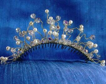 Sterling Silver, Swarovski Crystal and Freshwater Pearl Bridal Comb / Free Spirit French Twist Comb, Bridgerton Regency