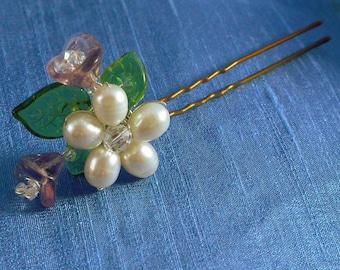 Bouquet Hairpin, Pearl Flower Hairpin, Glass Flower, Pink Purple Blue, Floral Hairpin for Garden Wedding