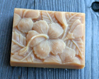 Hibiscus Goat's Milk Soap, Scented Hibiscus Soap, Homemade Soap, Made in Montana Soap