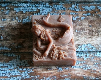 Vanilla Oil Added Goat's Milk Soap, Vanilla Oil Added Mermaid Soap, Mermaid Soap, Homemade Soap, Made in Montana Soap