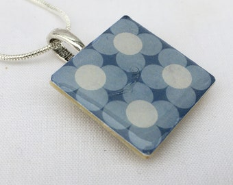 Unique gift Unusual scandinavian inspired Retro Print Crafted Ceramic Enamelled Necklace