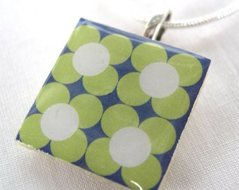 Blue and green Unusual Scandinavian Folk inspired scandinavian Retro Print Crafted Ceramic resin Necklace pendant gift.