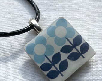 """Folk Retro inspired Flower Pattern Scandinavian Blue Retro Print Crafted Ceramic Resin pendant faux leather 17  to 19.5"""" necklace ."""