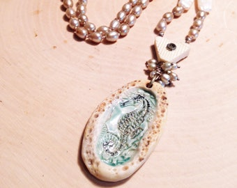 Seahorse and St. Therese Stanhope Pearl Necklace
