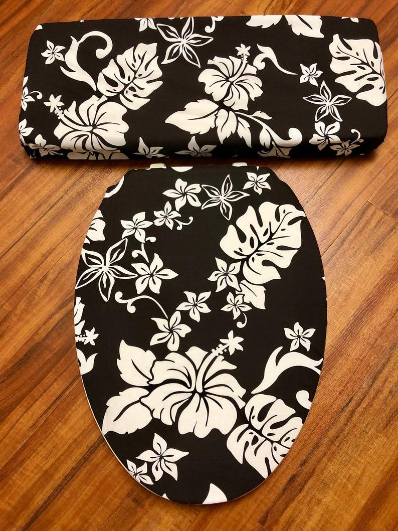 Wondrous Black White Hibiscus Toilet Seat Lid Tank Lid Cover Set Theyellowbook Wood Chair Design Ideas Theyellowbookinfo