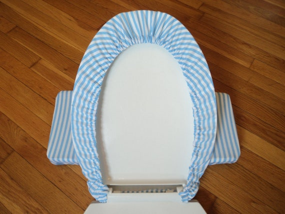 Peachy Light Blue Stripe Toilet Seat Cover Set Gamerscity Chair Design For Home Gamerscityorg