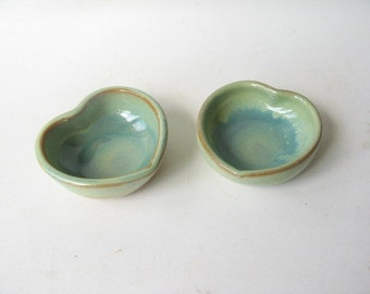 Small Trinket Dishes Set of 2, Small Heart Shapes Bowls, Ring Holders,