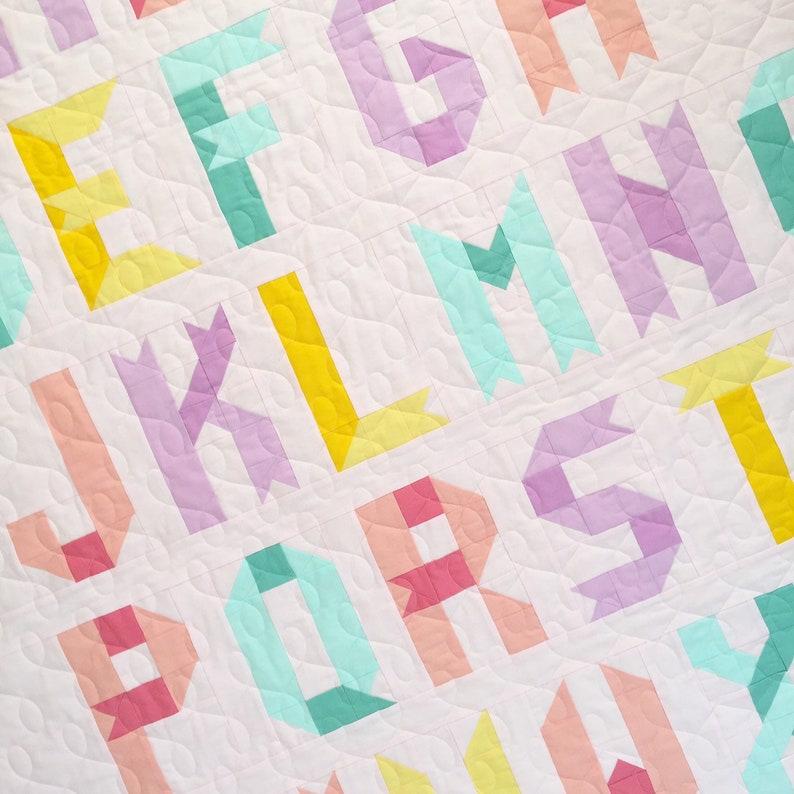 Alphabet Quilt Pattern PDF digital download Ribbon Letters image 0