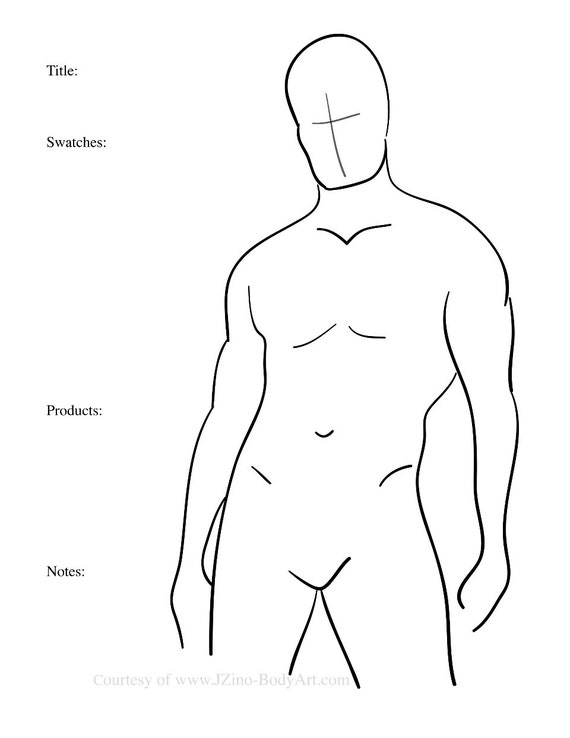 7 male body paint charts body templates for body painters etsy