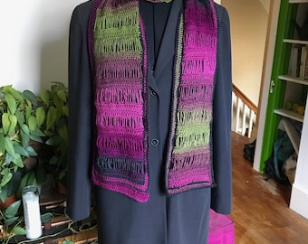 Straight Broomstick Lace Scarf in Jeweltones and Pink