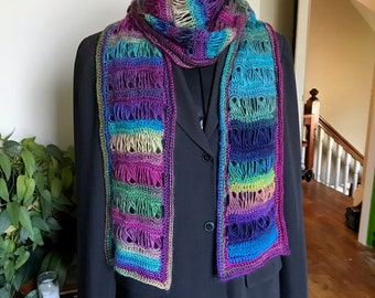Straight Broomstick Lace Scarf with Teardrop Motif in Rainbow Jeweltones