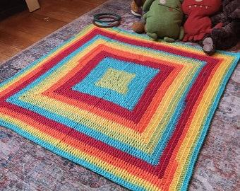 Rainbow Godseye Crocheted Baby Blanket