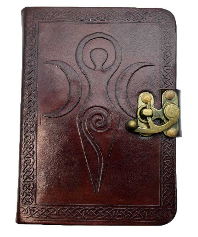 NEW Goddess-Mainden Mother Crone Leather Blank Journal Book image 0