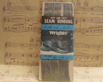 Vintage Dark Gray Seam Binding----3 Yards