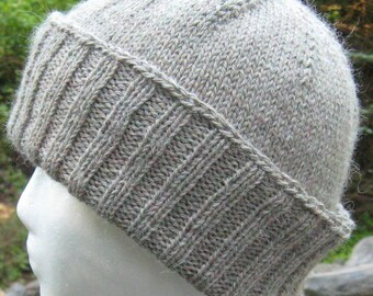 gray green alpaca ribbed hat, hand knit