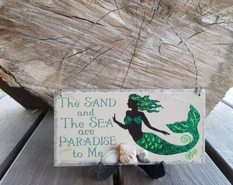 Mermaid Embellished Sign Plaque Wall Hanging