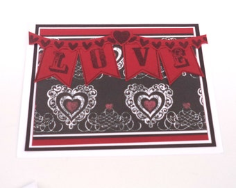 Valentine's Day Card, Anniversary Card, Love Card, Black and White Love Banner Card, Handmade Greeting Card