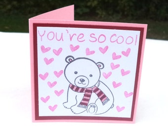Mini Valentine's Day Cards,   Pink and Red Polar Bear Children's Kids, Classroom Set, You're so Coolol