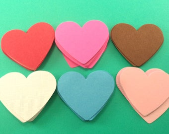 Paper Confetti, Die Cut Hearts, 1.5 inch Hearts, Red, Blue, Brown, Turquoise Hearts, Paper Hearts, Heart Shaped Paper, Multi Color Hearts