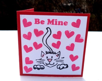 Cat Valentine Cards, Children's Mini Valentines, Be Mine Cards, Set of 20 Classroom, Red and White