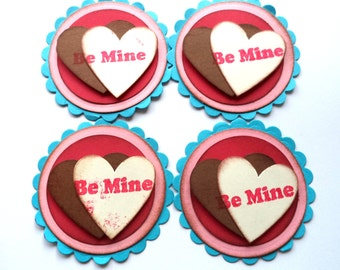 Valentine's Day Themed Scrapbook Embellishments, Card Making Supply, Be Mine Two Heart Tags, Turquoise Blue, Brown Cream Red and Pink